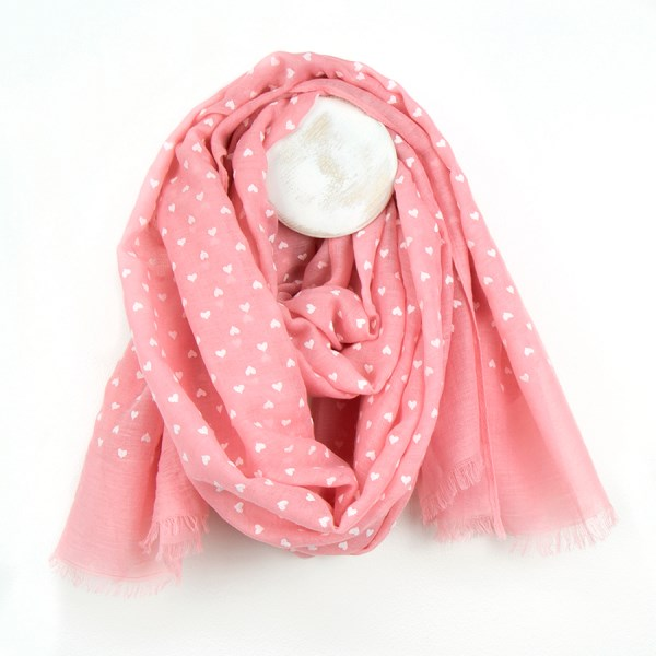 Salmon pink scarf with pretty white flock heart print | Image 1