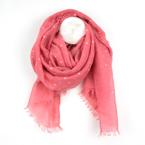 Coral pink scarf with mixed pastel flock polkadot print | Image 1