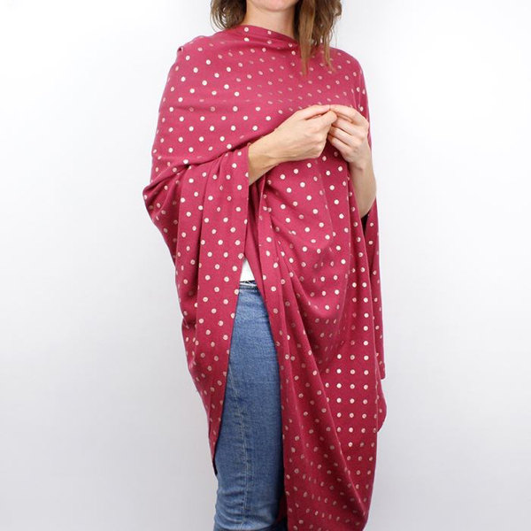 Deep pink and rose gold spot cotton poncho | Image 1