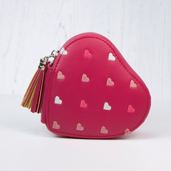 Rich pink heart shaped purse with embroidery and tassel | Image 1