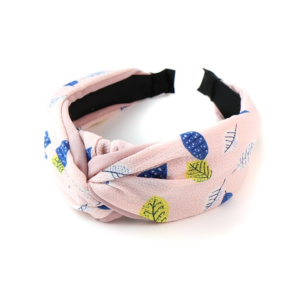 Pink fabric covered headband with leaf print | Image 1