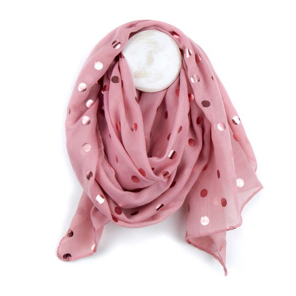 Pretty pink scarf with metallic pink polka dot print | Image 1