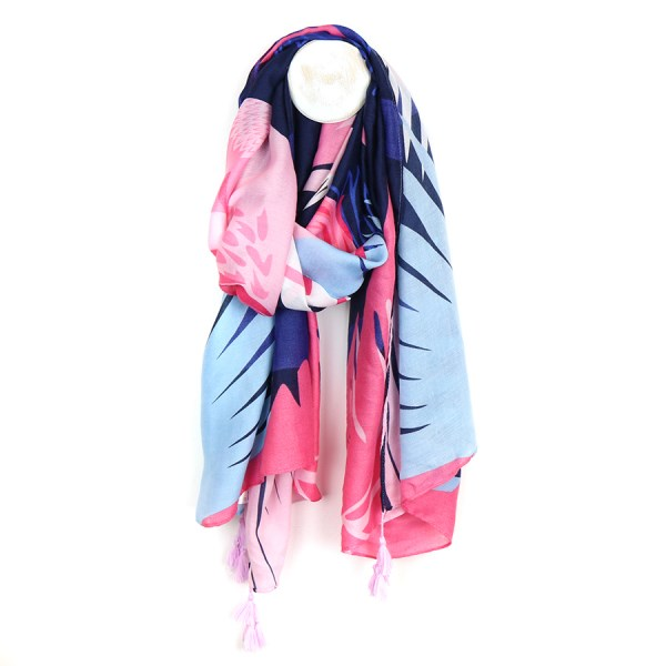 Pink and blue mix leaf print scarf with tassels | Image 1