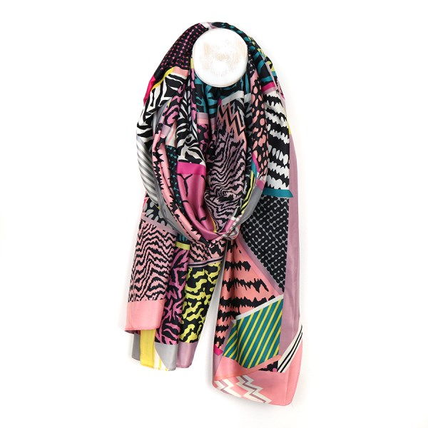 Silky scarf with animal prints and stripes in a pink mix  | Image 1