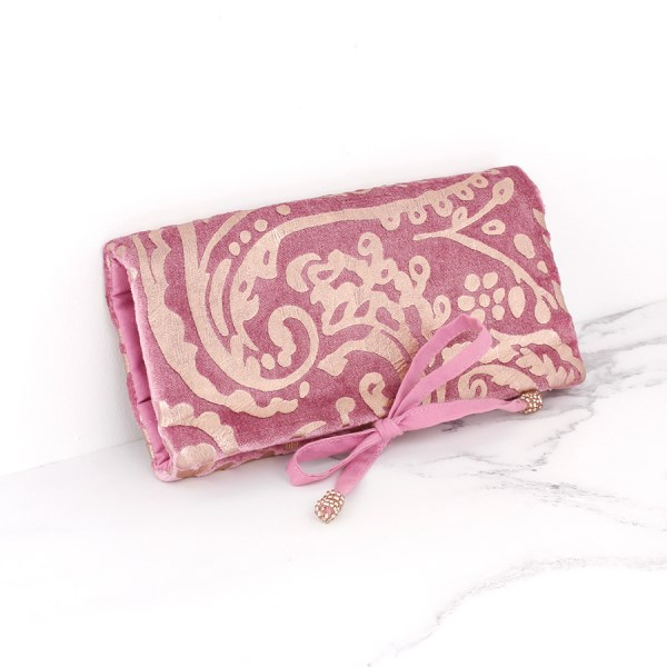 Pink velvet and rose gold paisley jewellery wrap | Image 1