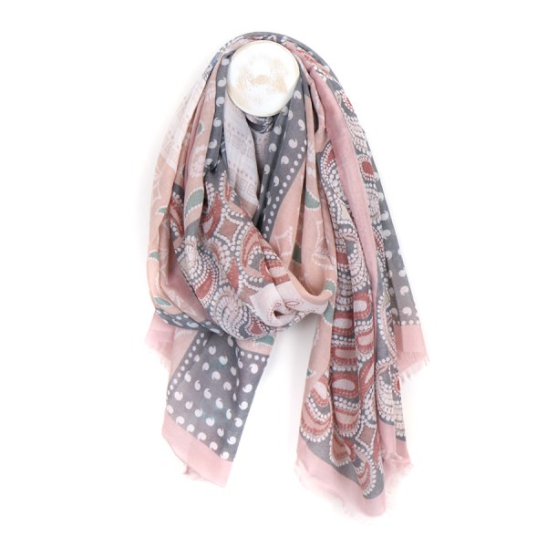 Pale pink and grey mix paisley print scarf | Image 1