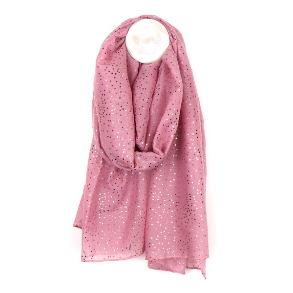 Dusky pink scarf with metallic rose gold spot print | Image 1
