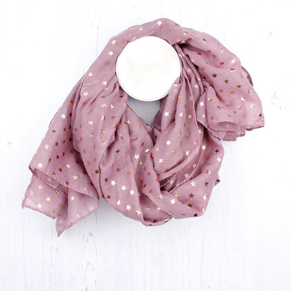 Dusky pink scarf with metallic rose gold star print | Image 1