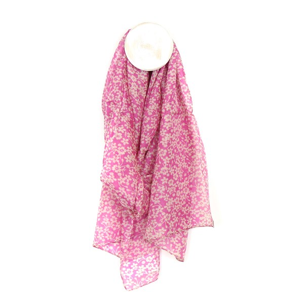 Silk scarf with a pink and white dainty floral print | Image 1