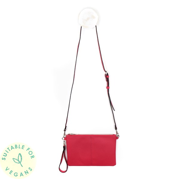 Vegan Leather convertible clutch bag in pink | Image 1