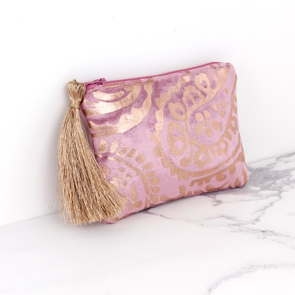 Pink velvet purse with rose gold paisley and tassel zip | Image 1
