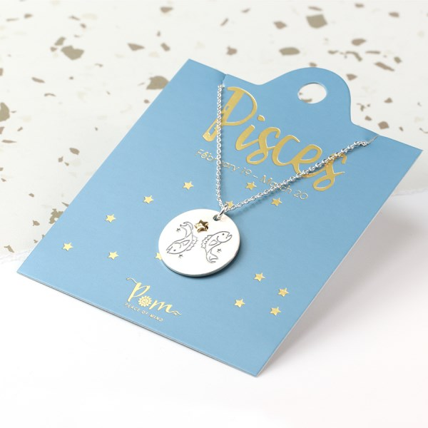 Silver plated Pisces zodiac necklace with a golden star | Image 1