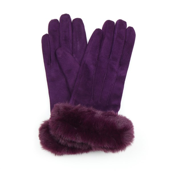Plum faux suede glove with faux fur trim | Image 1