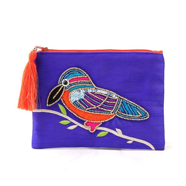 Purple purse with embellished kingfisher and tassel zip | Image 1
