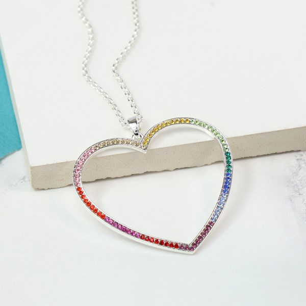 Silver plated heart pendant with rainbow colour crystals | Image 1