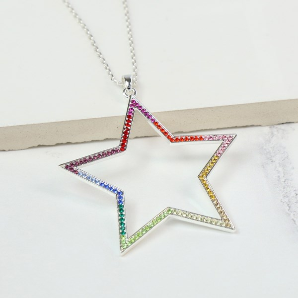 Silver plated star pendant with rainbow colour crystals | Image 1
