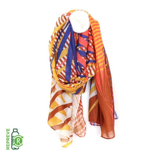 Recycled scarf with vibrant palm leaf print | Image 1