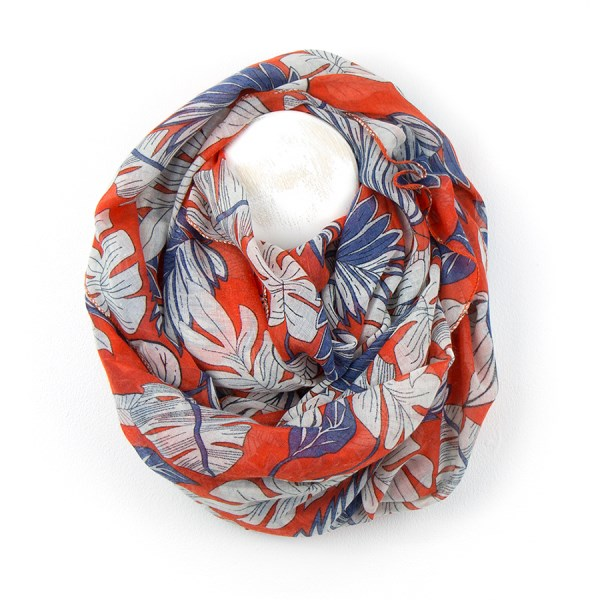 Red scarf with denim blue and white botanical print | Image 1