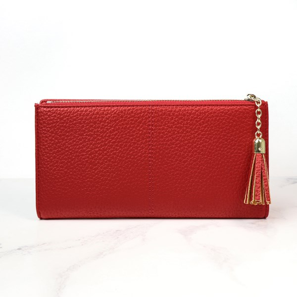 Large red faux leather zip purse with tassel | Image 1