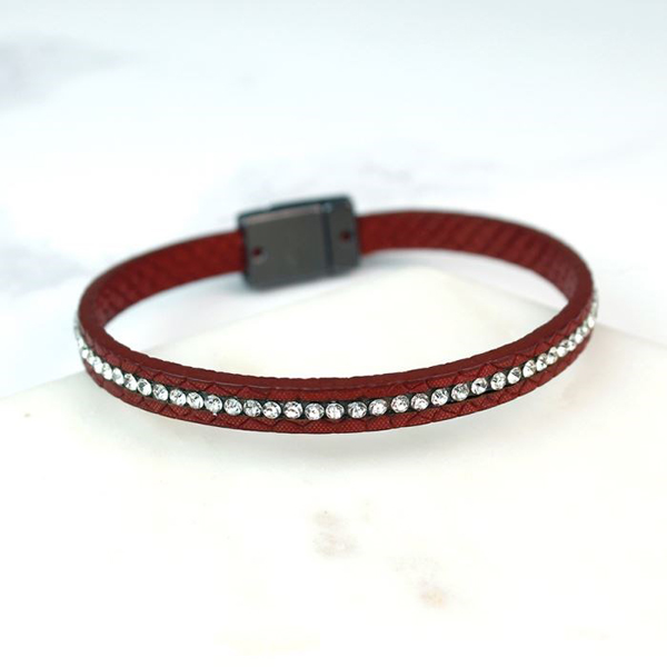 Single strand red leather bracelet with crystals | Image 1