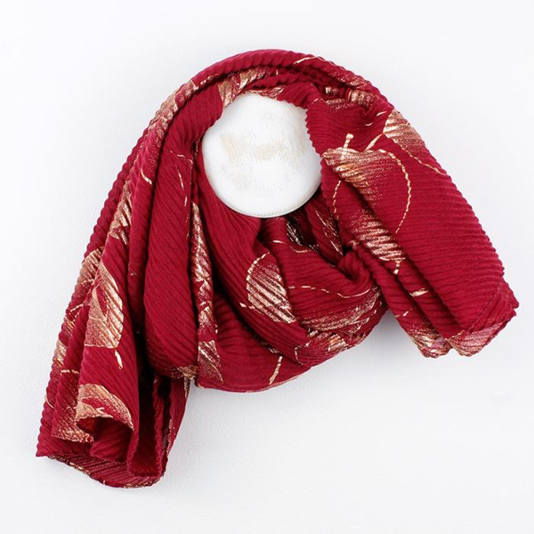 Deep red crinkle scarf with metallic rose gold leaf print | Image 1