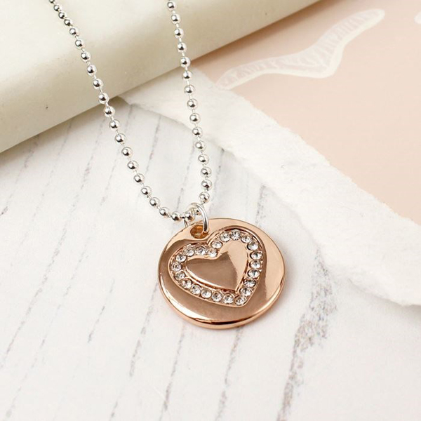 Silver plated and rose gold crystal heart disc necklace | Image 1