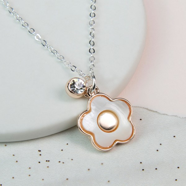 Rose gold and acrylic flower necklace with crystal | Image 1