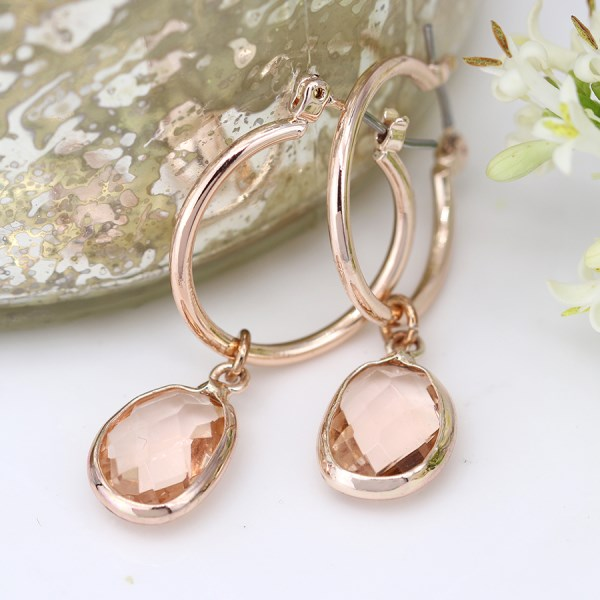 Rose gold hoop and blush crystal drop earrings | Image 1