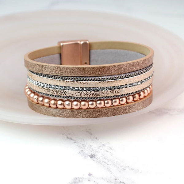Blush leather bracelet with rose gold beads and crystals | Image 1