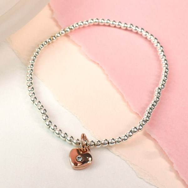 Sterling silver bracelet with rose gold crystal heart | Image 1