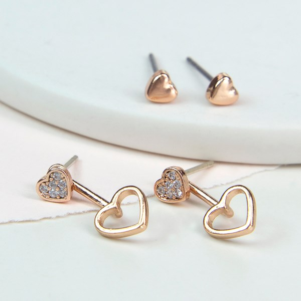 Rose gold double heart stud earring set with crystal | Image 1