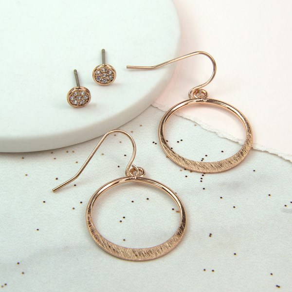 Rose gold scratched hoop and crystal stud earring set | Image 1