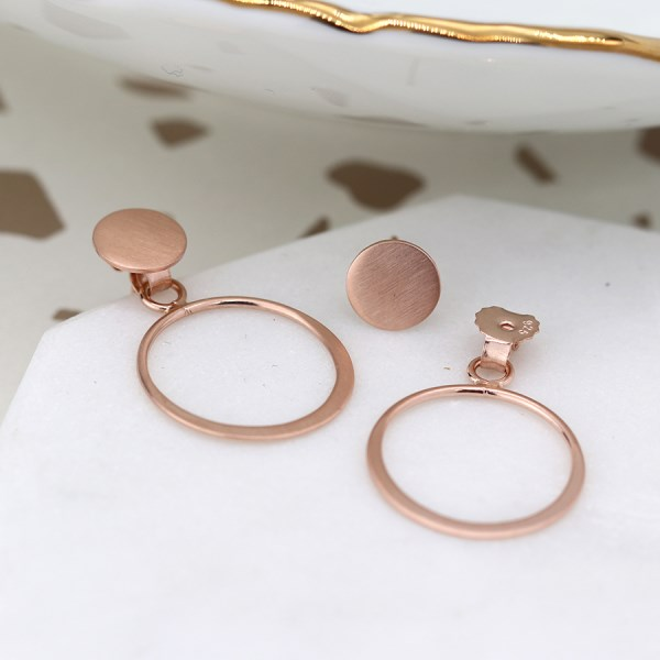 Rose gold rear fastening disc and hoop earrings | Image 1