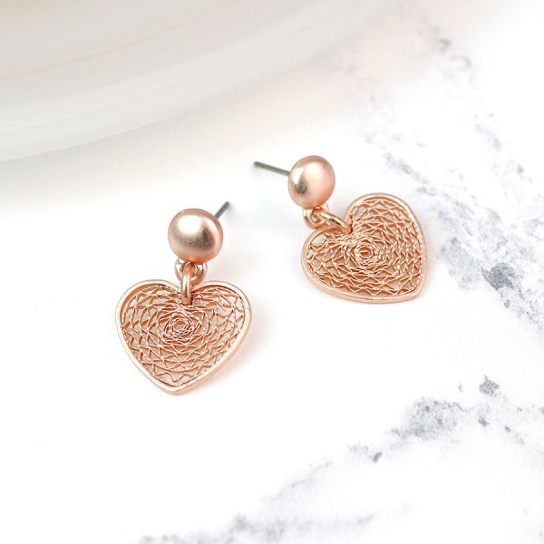 Rose gold plated filigree heart stud earrings | Image 1