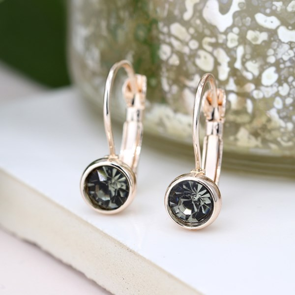 Rose gold plated and smoky crystal drop earrings | Image 1