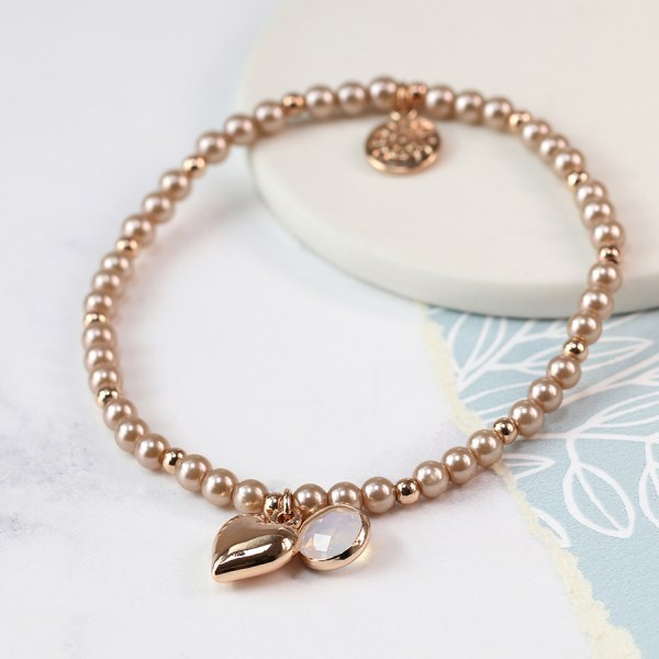Pink pearl bracelet with rose gold heart and smoky crystal | Image 1