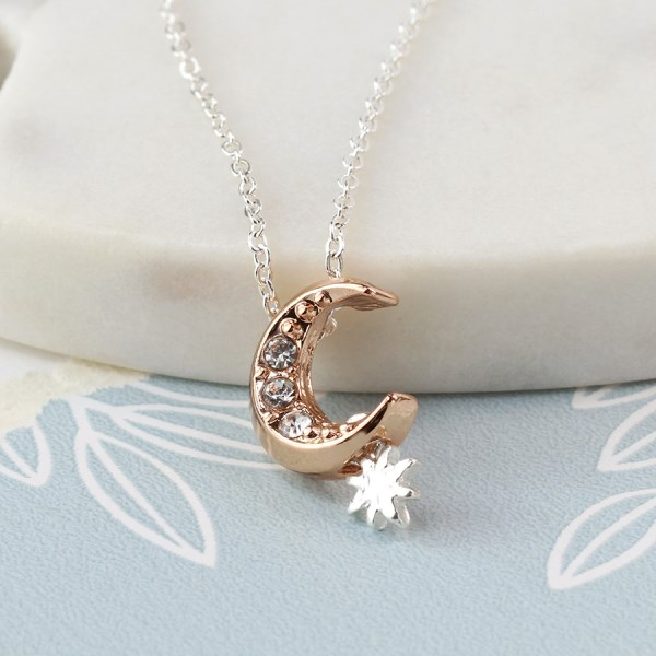 Silver plated and rose gold crystal moon necklace | Image 1