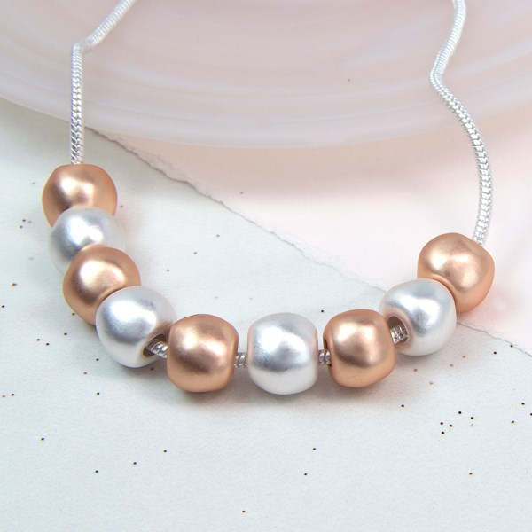 Silver and rose gold plated worn bead necklace | Image 1