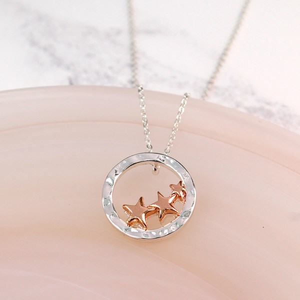 Silver circle and rose gold plated triple star necklace | Image 1
