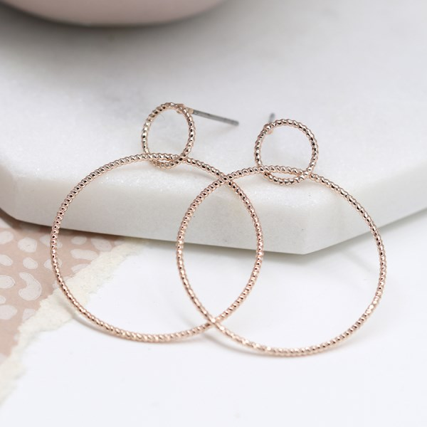 Rose gold plated double textured hoop stud earrings | Image 1