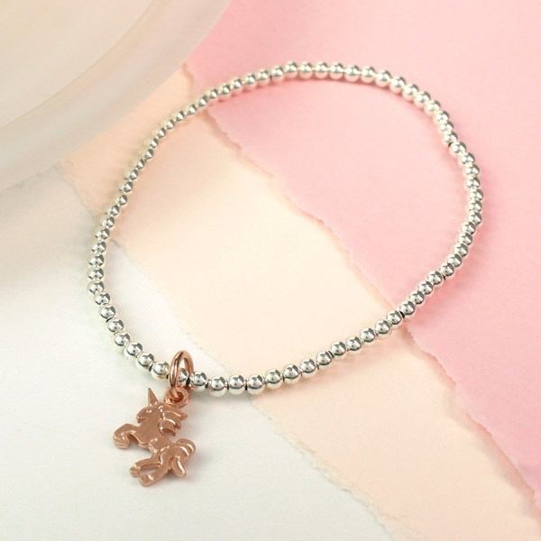 Sterling silver bracelet with rose gold unicorn | Image 1