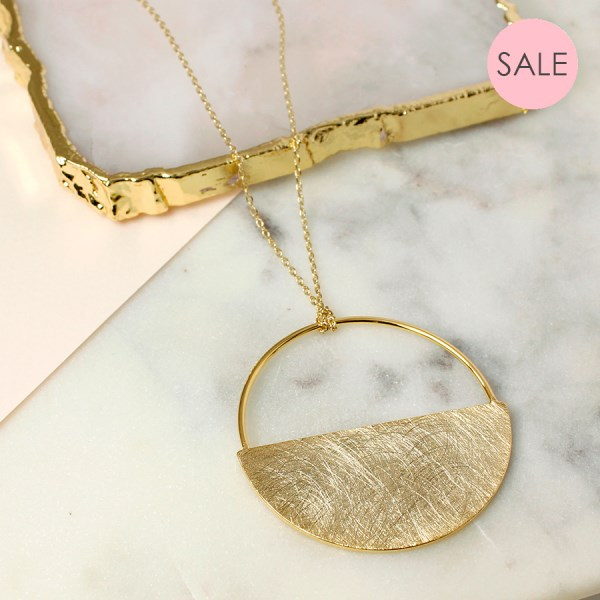 Gold plated scratched finish half circle necklace | Image 1