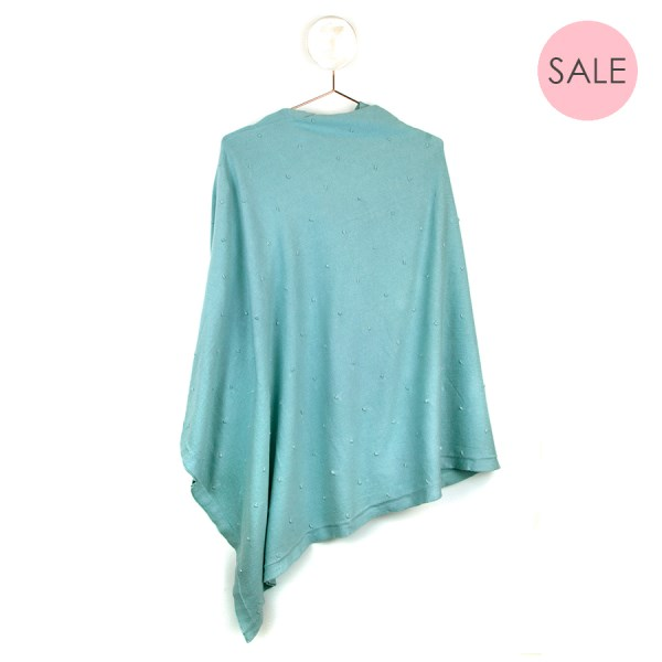 Sea green cotton poncho with lurex bobble detail | Image 1