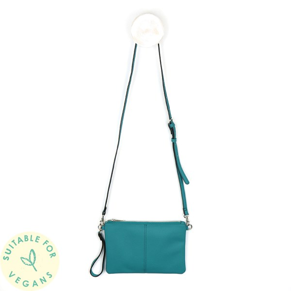 Vegan Leather convertible clutch bag in sea green | Image 1