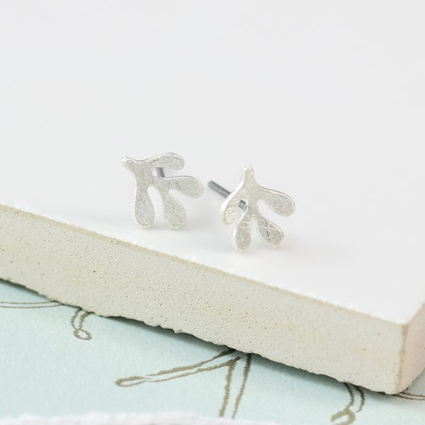 Silver plated seed leaf stud earrings | Image 1
