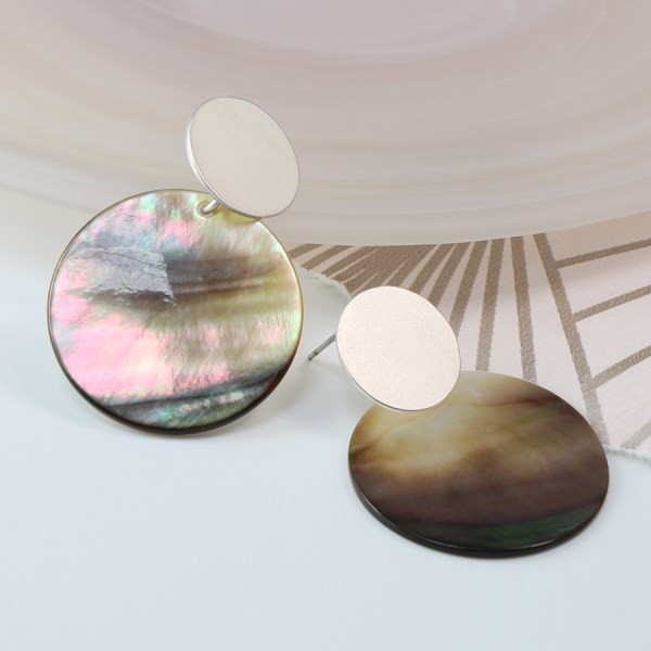 Shell and silver plated matt disc earrings | Image 1