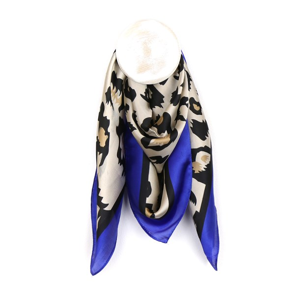 Silky square animal print scarf with royal blue border | Image 1