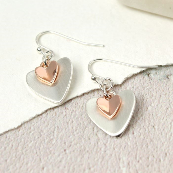 Silver and rose gold folded heart drop earrings | Image 1
