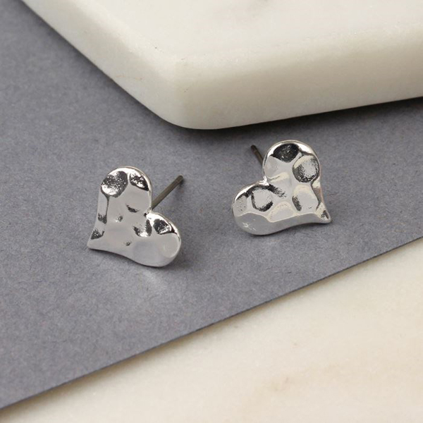 Silver plated textured heart stud earrings | Image 1