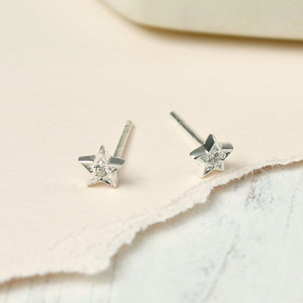 Sterling silver star stud earrings with faceted crystal | Image 1